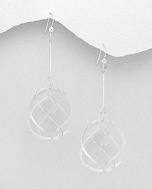 925 Sterling Silver Long Hand Crafted Drop Earrings
